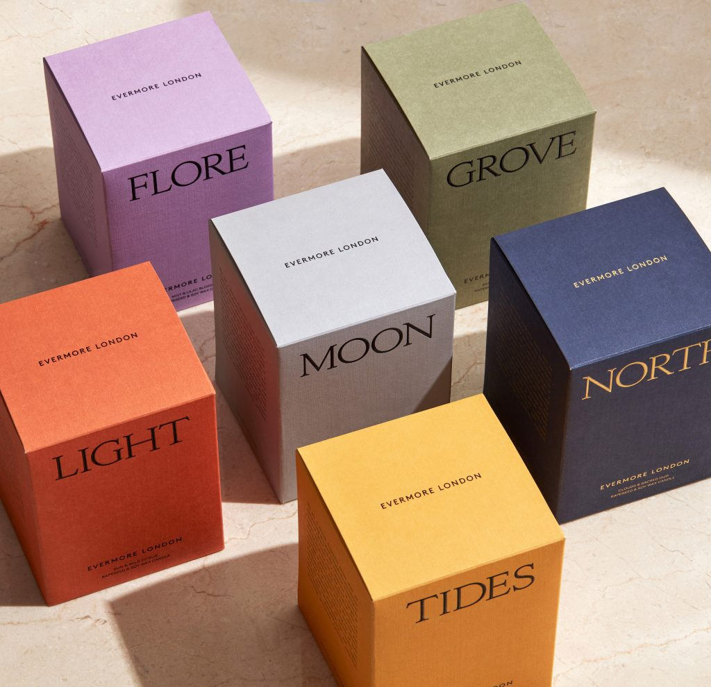 Evermore London Colourful packaging