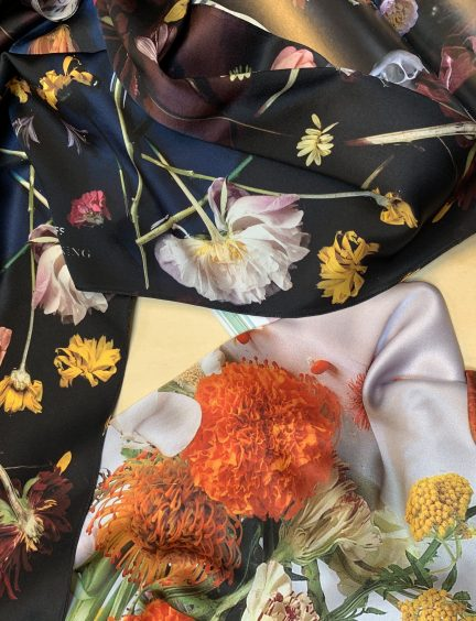 Patterned silk scarves