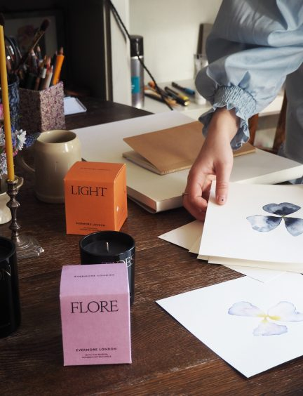 Scented Evermore London candles and Jess Wheeler watercolour