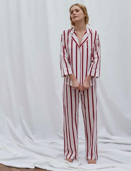 Honna Red Striped pyjamas on model with a white background