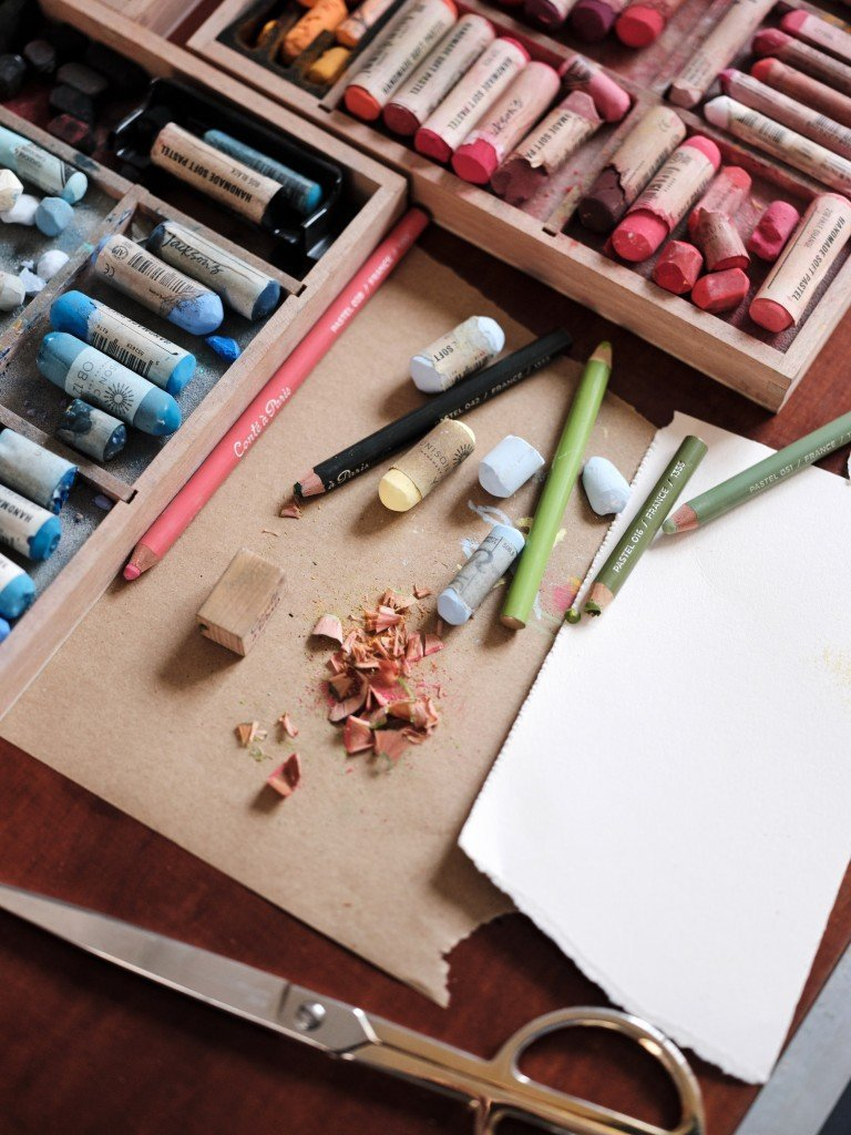 Colourful artist pastels